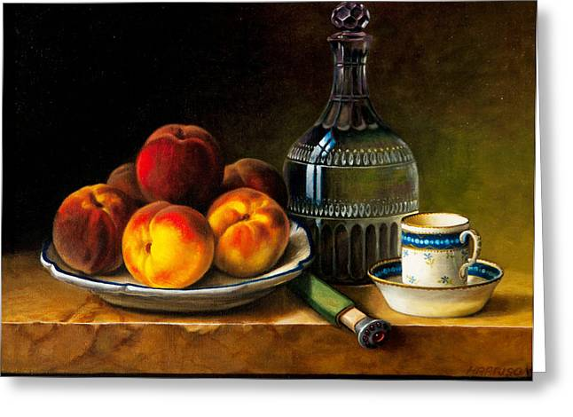 Still Life With Peaches Greeting Card by Bernadette Harrison