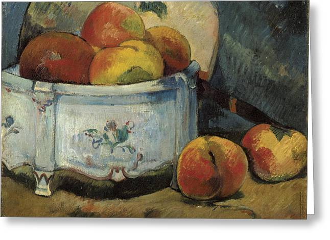 Still Life With Peaches Greeting Card by Paul Guaguin