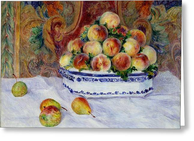 Still Life With Peaches Greeting Card by Pierre-Auguste Renoir