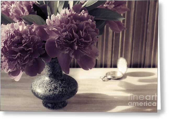 Still Life With Peonies And Hours Greeting Card