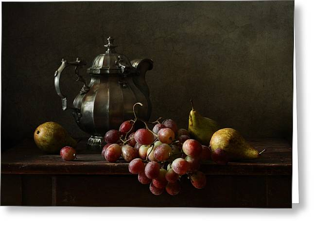 Still Life With Pewter Teapot And Grapes And Pears  Greeting Card by Diana Amelina