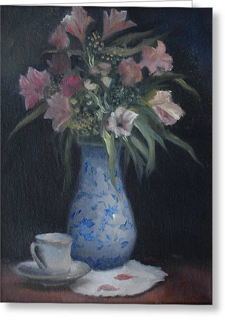 Still Life With Pink Flowers Greeting Card by Alla Parsons