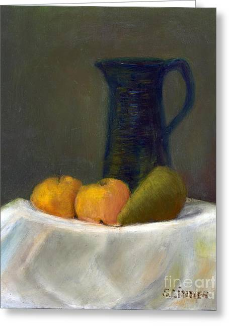 Greeting Card featuring the painting Still Life With Pitcher And Fruit by Sandy Linden