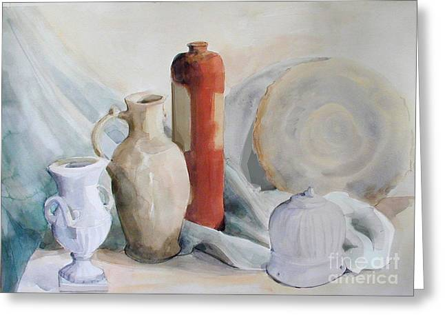 Watercolor Still Life With Pottery And Stone Greeting Card