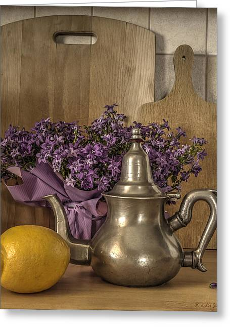 Still Life With Purple Flowers And Citron Greeting Card