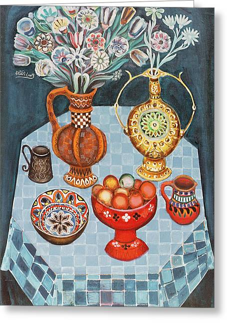 Still Life With Red Apples, 1967 Oil On Canvas Greeting Card by Radi Nedelchev