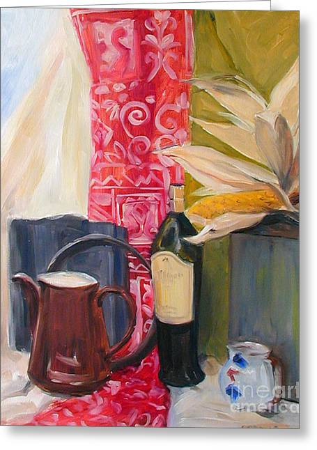Still Life With Red Cloth And Pottery Greeting Card