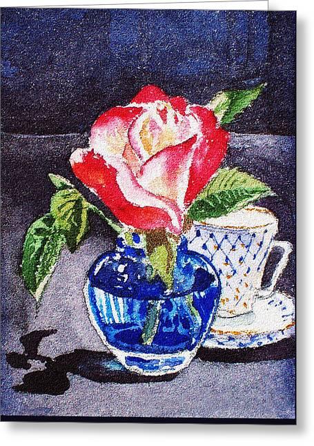 Still Life With Rose Greeting Card by Irina Sztukowski