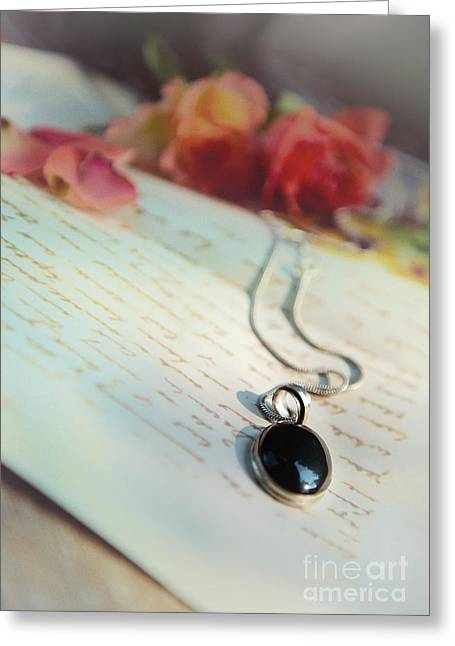 Still Life With Roses And A Black Pendant Greeting Card