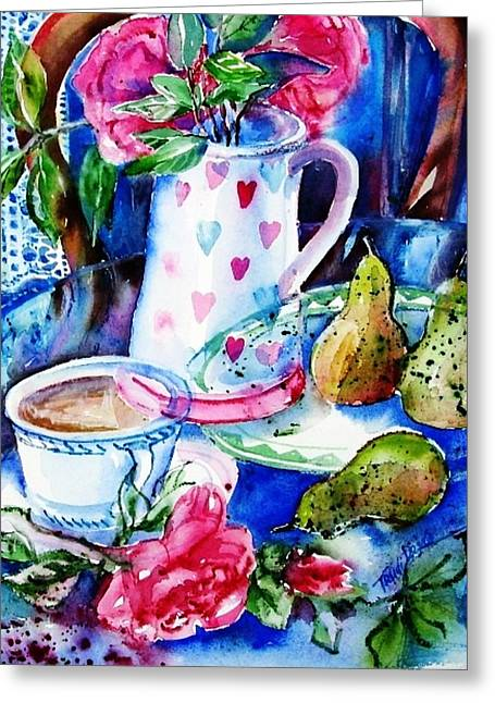 Still Life With Roses  Greeting Card by Trudi Doyle