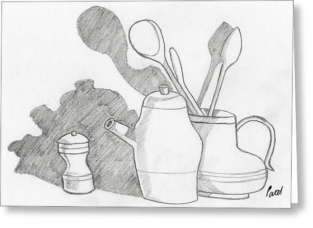 Still Life With Shadows Greeting Card by Bav Patel