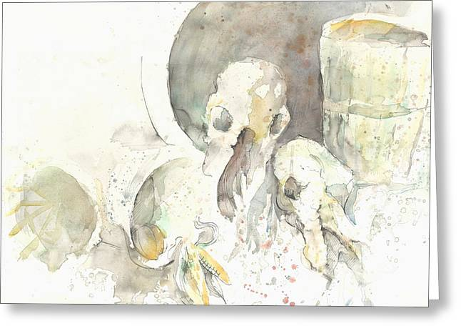 Still Life With Skulls Greeting Card by Melinda Dare Benfield