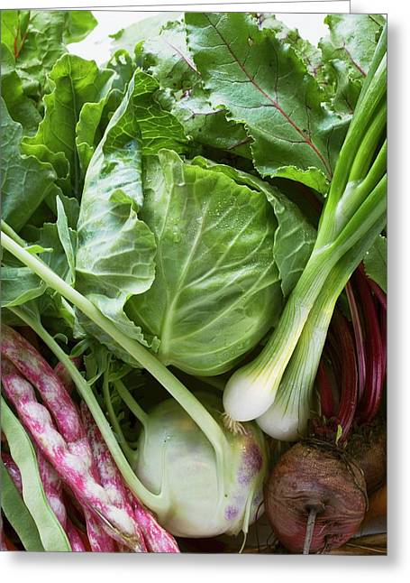 Still Life With Spring Onions, Cabbage, Beetroot, Beans Greeting Card