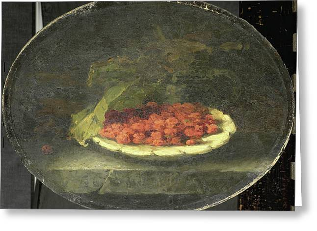 Still Life With Strawberries In A White Bowl Greeting Card by Litz Collection