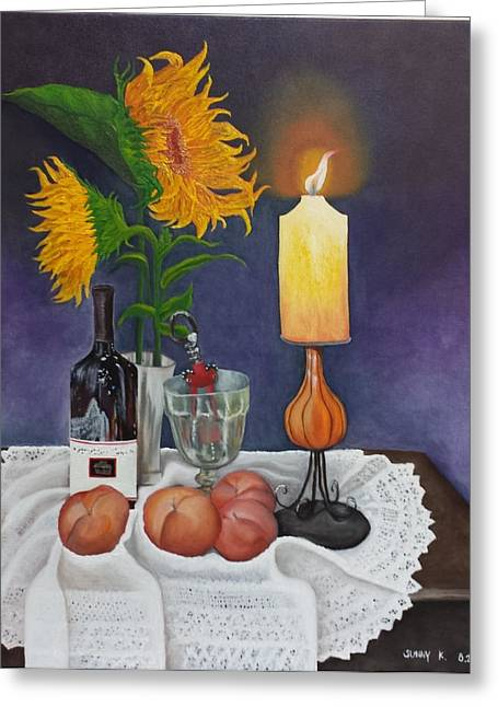 Still Life With Sunflowers Greeting Card by Sunny  Kim