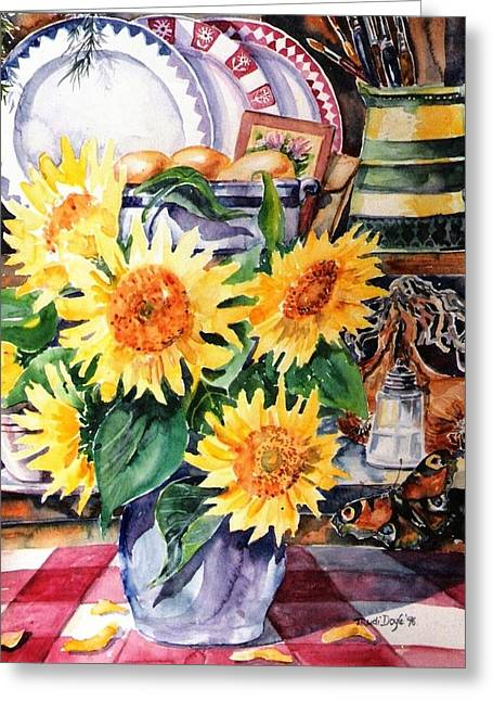 White Cloth Greeting Cards - Still lIfe with Sunflowers  Greeting Card by Trudi Doyle