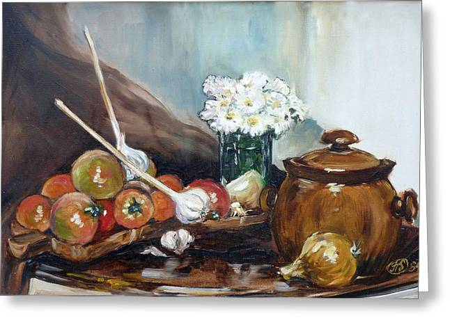 Still Life With Tomatos Greeting Card by Irek Szelag