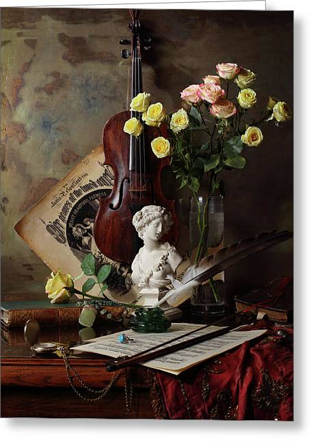 Still Life With Violin And Bust Greeting Card by Andrey Morozov