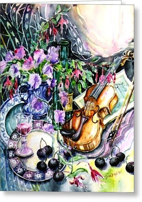 Still Life With Violin And Cherries Greeting Card by Trudi Doyle