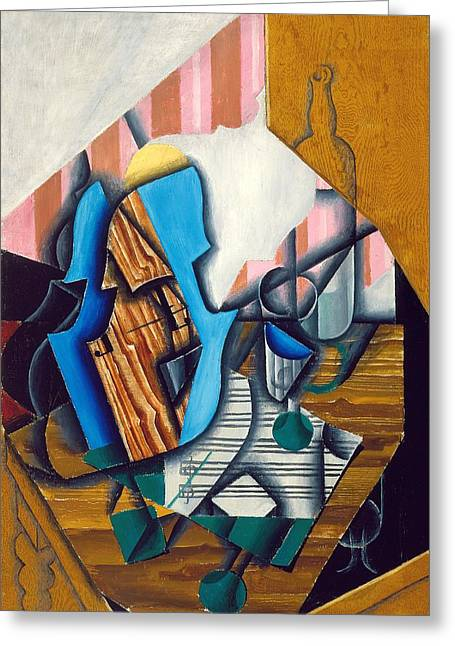 Still Life With Violin And Music Sheet, 1914 Oil On Paper Colle On Canvas Greeting Card by Juan Gris