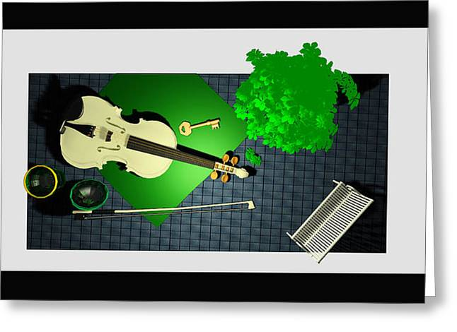 Still Life With Violin And Park Bench Greeting Card