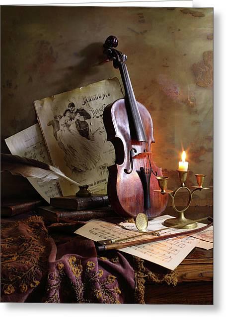Still Life With Violin Greeting Card