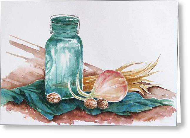 Still Life With Walnuts Greeting Card by Renee Goularte