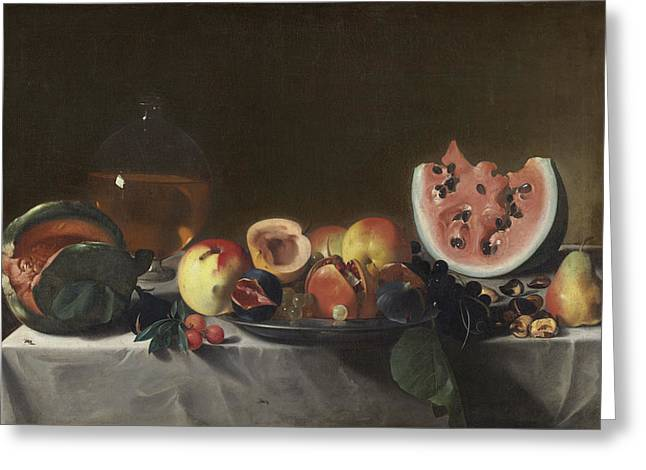 Still Life With Watermelons And Carafe Of White Wine Greeting Card