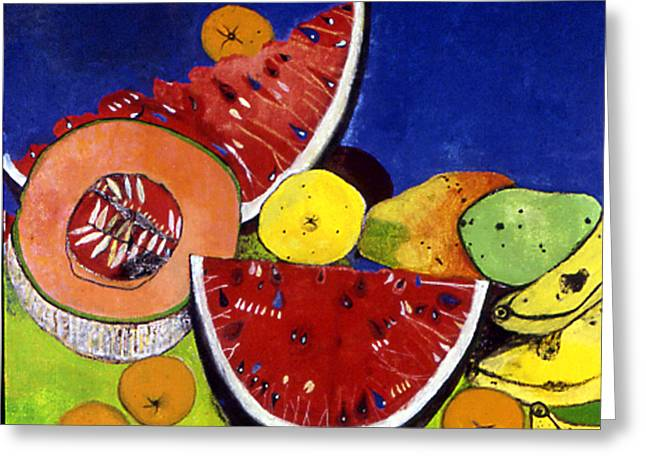 Still Life With Watermelons Greeting Card by Caroline Blum