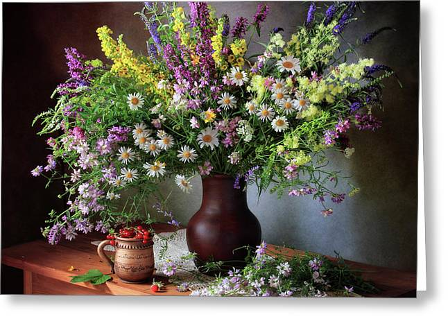 Still Life With Wildflowers And Berries Greeting Card