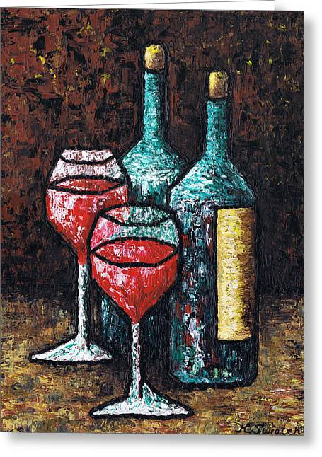 Still Life With Wine Greeting Card by Kamil Swiatek