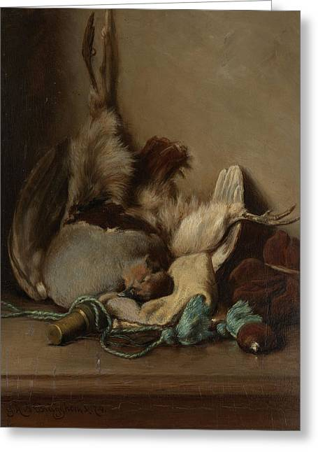 Still Life With Wood Pigeon And Powder Horn Greeting Card