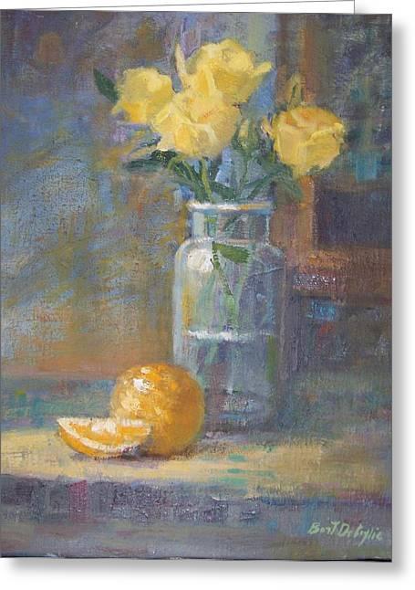 Still Life. Yellow Roses Greeting Card