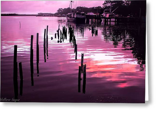 Greeting Card featuring the photograph Still Water Dusk 2 by Wallaroo Images