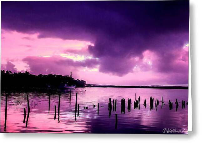 Greeting Card featuring the photograph Still Water Dusk by Wallaroo Images