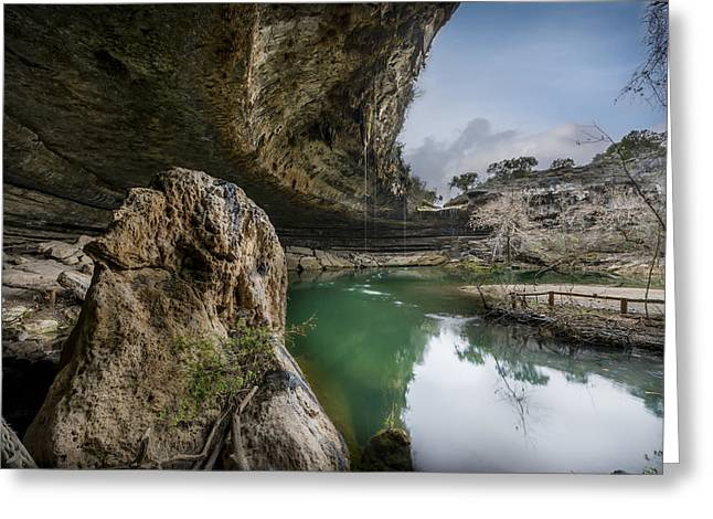 Still Waters At Hamilton Pool Greeting Card by David Morefield