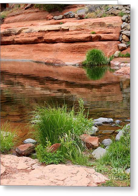 Still Waters At Slide Rock Greeting Card by Carol Groenen