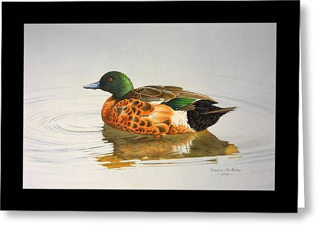 Still Waters - Chestnut Teal Greeting Card by Frances McMahon