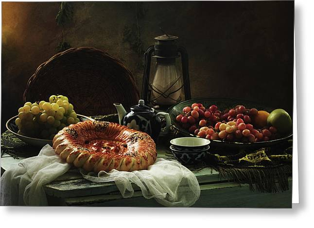 Stilllife  With Cake And Grapes Greeting Card