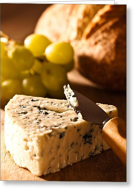 Stilton Cheese With Grapes Greeting Card