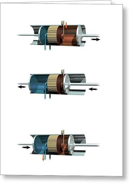 Stirling Engine Mechanism Greeting Card by Mikkel Juul Jensen