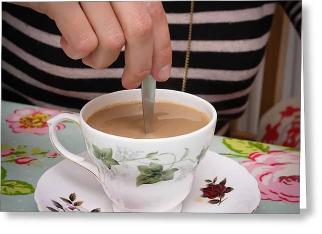 Stirring Tea  Greeting Card by Tom Gowanlock