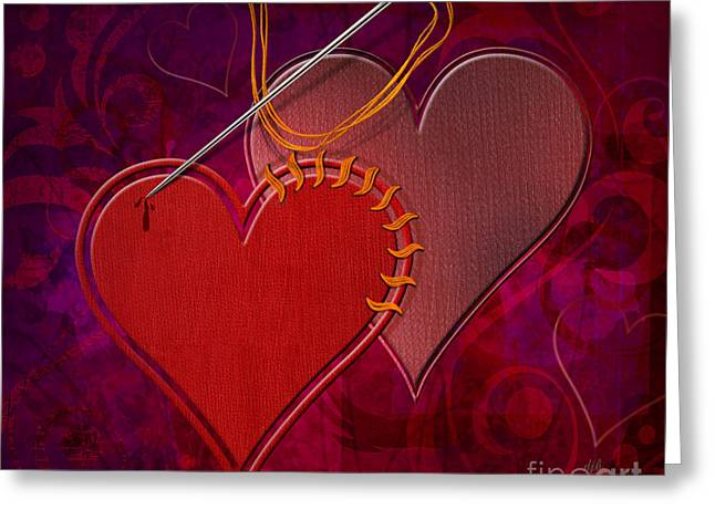 Stitched Hearts Greeting Card by Bedros Awak