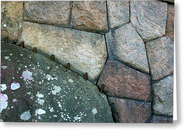 Stitched Stones Greeting Card by Leena Pekkalainen