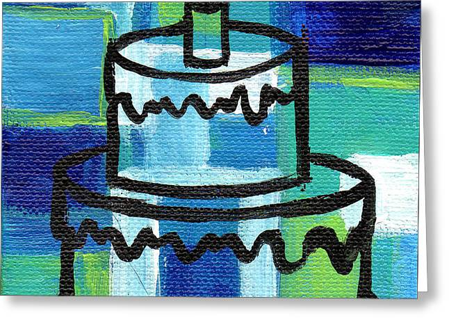 Stl250 Birthday Cake Blue And Green Small Abstract Greeting Card by Genevieve Esson