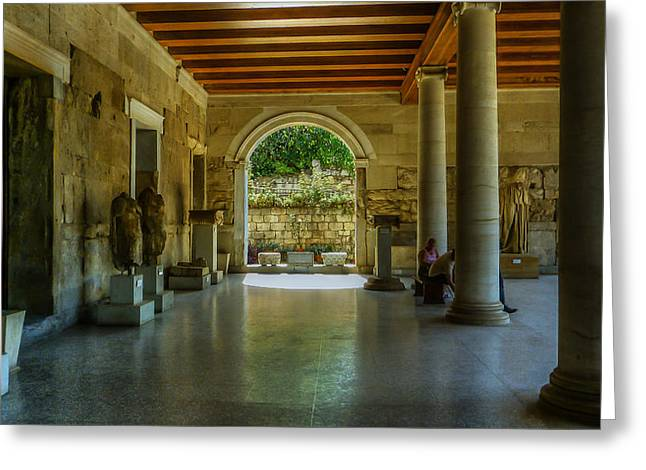 Stoa Of Attalos Greeting Card by Capt Gerry Hare
