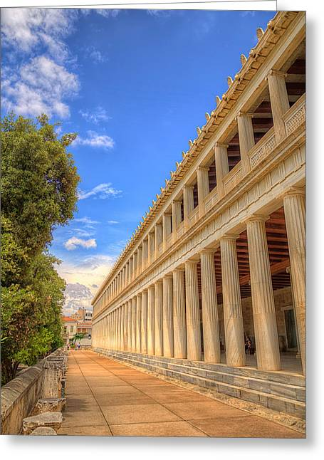 Greeting Card featuring the photograph Stoa Of Attalos by Micah Goff