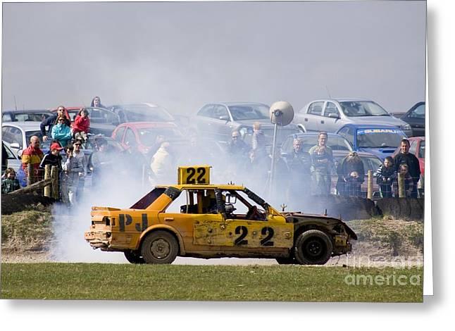 Stock Car Racing, Cumbria, Uk Greeting Card
