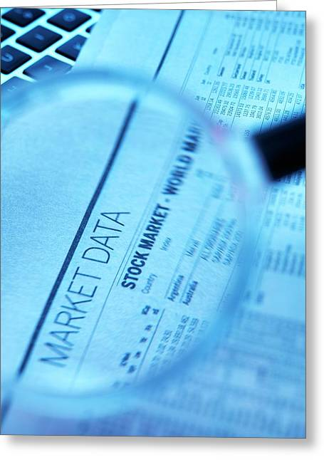 Stock Market Figures And Magnifying Glass Greeting Card by Tek Image
