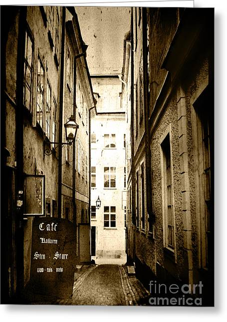 Stockholm Cafe Greeting Card by Joan McCool